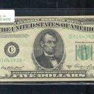 """1950A  """" C """"  STAR $5.00 FRN  C01043939*"""