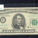 """1963A  """" C """"  STAR $5.00 FRN  C02295218*"""