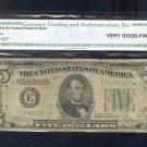 "1934   "" E ""  STAR $5.00 FRN  E00485167*  MULE BP#1473"