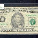 "1993 "" H "" STAR $5.00 FRN  H03000624*"