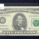 "1995 "" D "" STAR $5.00 FRN  D01988493*"