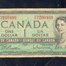 1954  ==  CANADA  ==  ONE DOLLAR =  7200499
