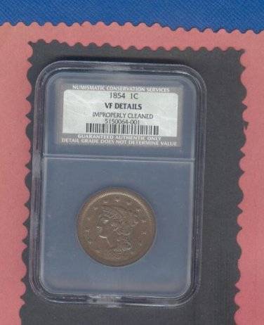 1854 = 1 cent  =  VF details