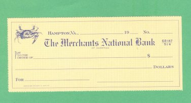 Bank check = The Merchants National Bank of HAMPTON, VA