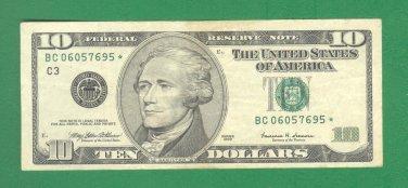 "1999 "" C "" STAR $10.00 FRN BC06057695*"