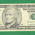 "1999 "" A "" STAR $10.00 FRN  BA01179243*"