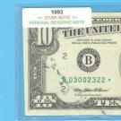 """1993 """" B """" STAR $10.00 FRN B03002322*"""