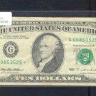 "1995 "" G "" STAR $10.00 FRN = G00853525*"