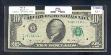 "1974 "" D "" STAR $10.00 FRN = D06453344*"