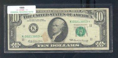 "1969 "" K "" STAR $10.00 FRN = K00213853*"