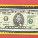 ~ BINARY ~ . A53335535B ==  All 3's and 5's old style $5.00 FRN