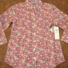 NEW IZOD LACOSTE WOMENS PINK FLORAL PRINT SMALL SHIRT TOP NWT