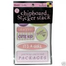 DCWV Chipboard Sticker Stack - Baby Girl