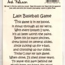 Real Rhyme and Reason - Last Baseball Game