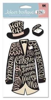 Jolee's Boutique I Do Wedding Collection: The Toast Suit Dimensional Stickers (EKWJBLG020)