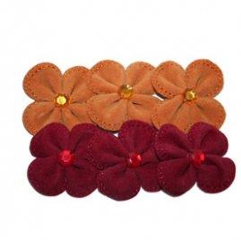 Maya Road Suede Stitched Blossoms red & orange