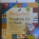 DCWV Basketball Scrapbook Kit in a stack with album 8x8