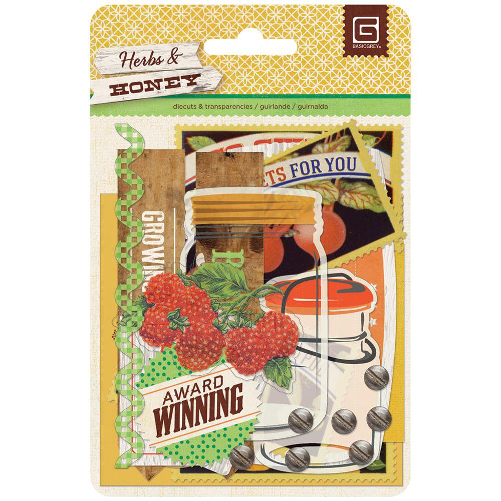 Basic Grey Herbs & Honey die-cut cardstock and transparencies