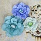 "Prima Marketing Inc. Akran Fabric Flowers W/Beads 2"" To 3"" 3/Pkg Taj Blue"