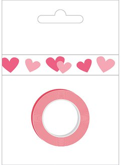 American Crafts Decorative Tape - pink/red hearts