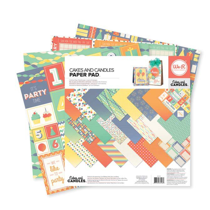 """WE R MEMORY KEEPERS DOUBLE-SIDED PAPER PAD 12""""X12"""" 24/PKG cakes and candles"""