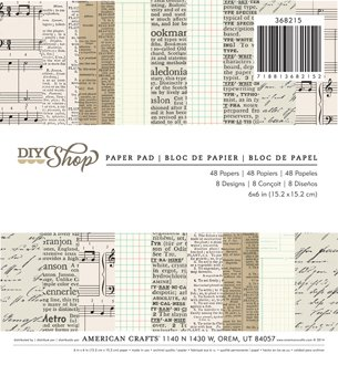 PAPER PAD - PATTERNED - AMERICAN CRAFTS NEWSPRINT - 6 X 6 - 48 SHEETS