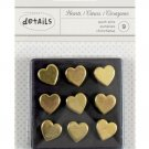 American Crafts - Push Pins - Gold Hearts