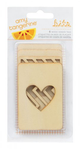 American Crafts - Amy Tangerine Collection - Cut and Paste - Bits - Wood Veneer Cards