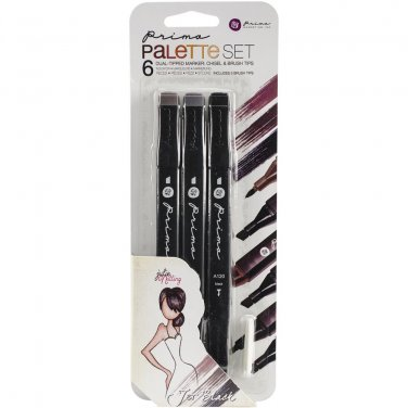 Prima Palette Mixed Media Markers Set - jet black