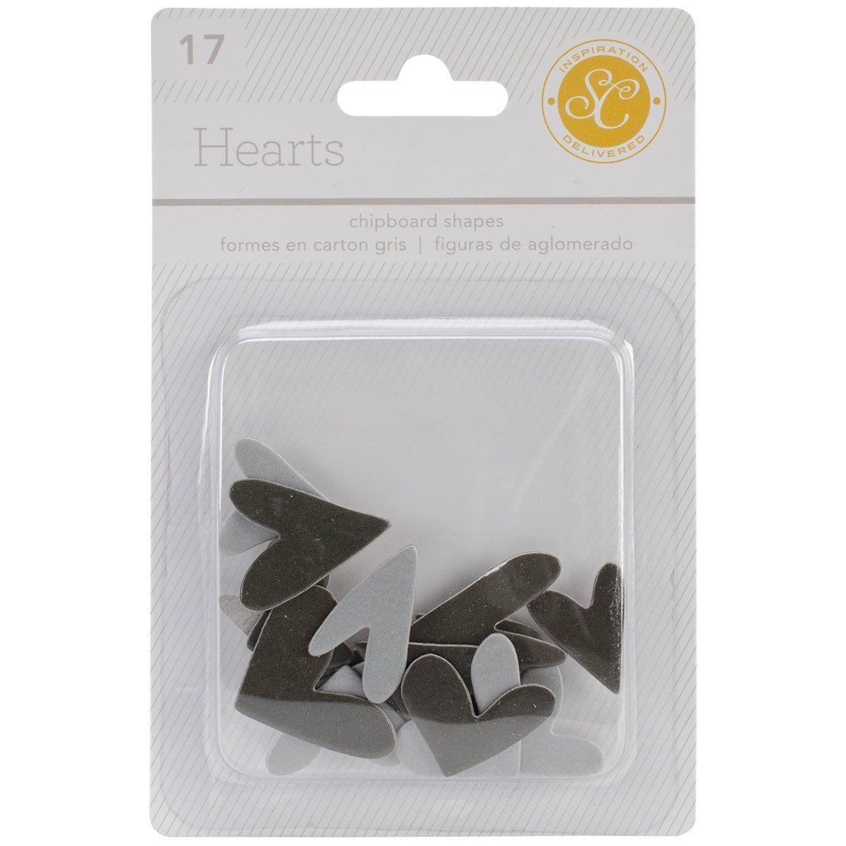 Studio Calico 17-Piece Essentials Heart Chipboard Shapes, Black/Gray