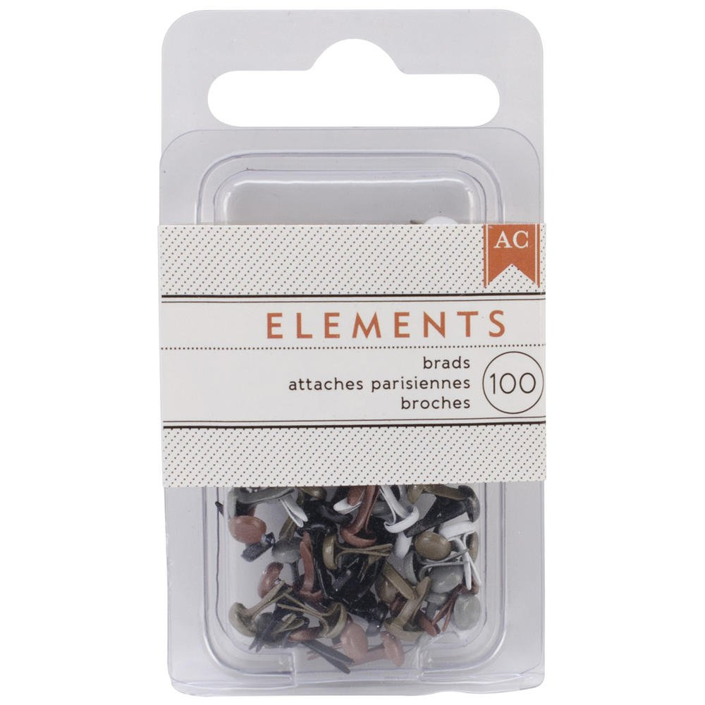 "American Crafts Elements Mini Brads .125"" 100/Pkg-Metallic - 366334"