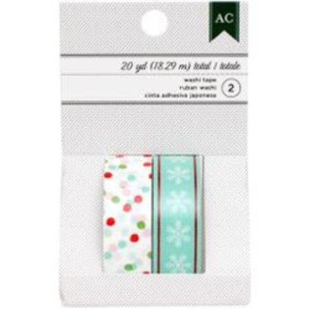 American Crafts Washi Tape - multi dots & aqua snowflakes