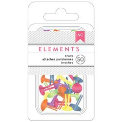"""American Crafts Elements Brads .1875"""" 50/Pkg-brights-366341"""