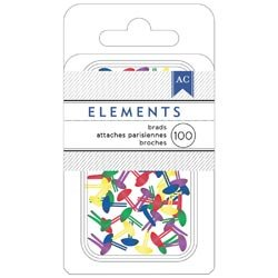 "American Crafts Elements Mini Brads .125"" 100/Pkg-primary -366337"