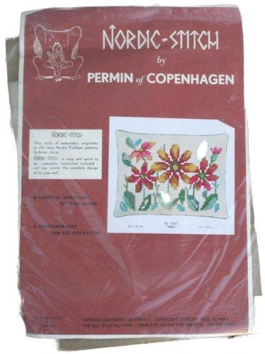 Permin of Copenhagen Fall Nordic Stitch Pillow Needlepoint Kit 83-0417