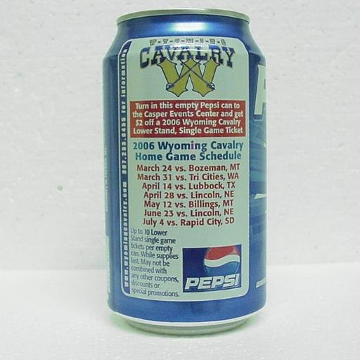 PEPSI Can - Wyoming Cavalry Home Game Schedule - 2006
