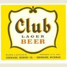 CLUB LAGER BEER Bottle Label - Sebewaing Brewing - Sebewaing, MI - 12 oz.