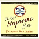 SUPREME BEER Bottle Label - South Bethlehem - Bethlehem, PA - 1 qt. - IRTP