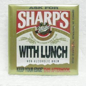 "SHARP'S BEER Pinback - Miller - Milwaukee, WI - 2-1/2"" square"