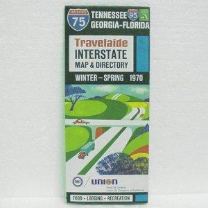 UNION 76 Interstate Map & Directory - 1970 - TN, GA & FL