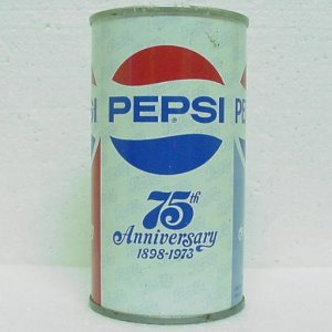 PEPSI-COLA 75th ANNIVERSARY Can - Admiral Beverage Corp. - Worland, WY - Pull tab - Straight steel