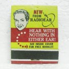 RADIOEAR Hearing Aid matchbook - front strike - unused