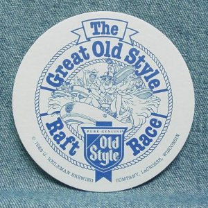 OLD STYLE Beer Coaster Mat - Raft Race - G. Heleman - LaCrosse, WI - 1989