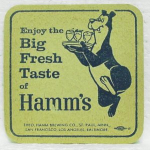 HAMM'S BEER Coaster Mat - Theo. Hamm Brewing - 4 cities
