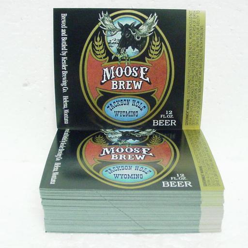 """MOOSE BREW BEER Bottle Labels - Kessler Brewing - Helena, MT - 1"""" stack"""