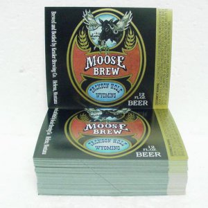 MOOSE BREW BEER Bottle Labels - Kessler Brewing - Helena, MT - 1&quot; stack