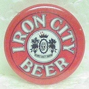 """IRON CITY BEER Pin Pinback - Pittsburgh, PA - Metal - 1"""" round"""
