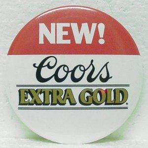 "COORS EXTRA GOLD Beer Pin Pinback - 3"" Metal - Round"