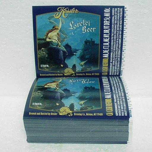 "KESSLER LORELEI BEER Bottle Labels - Kessler Brewing - Helena, MT - 1"" stack"