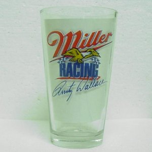 MILLER & MILLER LITE RACING Pint Glass - Rusty Wallace No. 2 - NASCAR